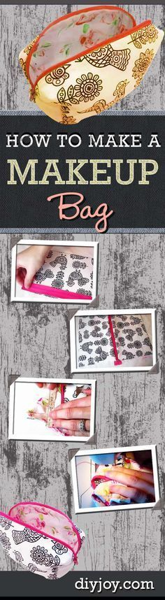 DIY Makeup Bag Tutorial and Step by Step Instructions - Cool Crafts for Teens | DIY Makeup Bag Tutorial | Easy Sewing Project for Beginners | DIY Projects & Crafts by DIY JOY at http://diyjoy.com/easy-sewing-projects-diy-make-up-bag