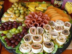 Raps, fruit and cold cuts platter