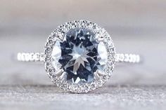 14k White Gold Thin Round Diamond Halo Blue Aquamarine Engagement Promise Anniversary Love Ring Band 11mm 8mm