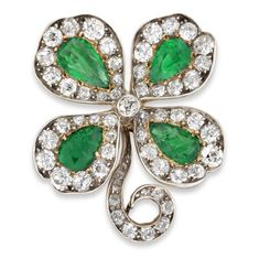 A late Victorian emerald and diamond four-leaf clover brooch - Bentley & Skinner