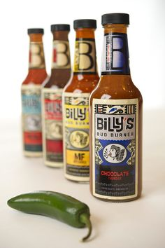 the smoking hot design of Billy's Bud Burner Hot Sauces