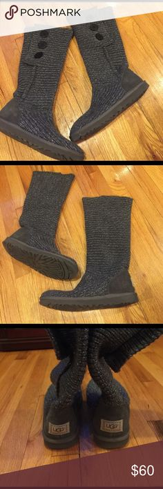 Womens knit UGGs Size US 9 Women's Knit UGGs. GREAT CONDITION! gently worn. Grey with silver knitted in. Three buttons on outsides of boots. Super comfy. Give a cute slouchy look. UGG Shoes Winter & Rain Boots