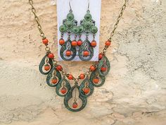 Statement necklace green Bohemian necklace by Gypsymoondesigns
