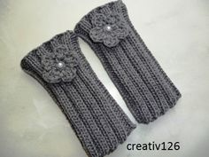 Knitting Patterns Mittens Leg Warmers Leg Warmers with Crochet Flower – a unique product by on DaWanda Crochet Gloves Pattern, Crochet Mittens, Fingerless Mittens, Knitted Gloves, Knit Crochet, Knitting For Kids, Knitting Projects, Knitting Patterns, Crochet Hand Warmers
