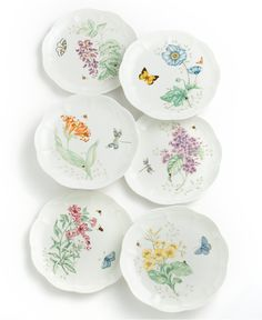 """Lenox """"Butterfly Meadow"""" Accent/Salad Plate - Casual Dinnerware - Dining & Entertaining - Macy's"""