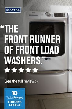 """Top Ten Reviews named our MaytagⓇ washer (model MHW5630HW) Editor's Choice for best front load washers 2021. Calling it """"crammed full of extra features"""" including """"an unbeatable warranty, extra power functions, and a large capacity."""" Click here to see the full review. Maytag Washer And Dryer, Laundry Appliances, Front Load Washer, Washers, Top Ten, Editor, Choices, Names, Model"""