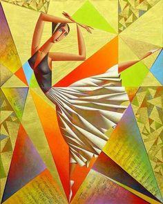 Vibrant Cubist Art Works and Illustrations by Georgy Kurasov Cubist Artists, Cubism Art, Contemporary Artists, Modern Art, Scrapbooking Image, Arte Pop, Art Mural, Dance Art, Anime Comics