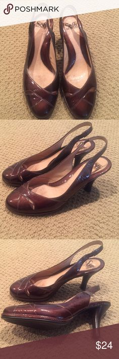 """Sofft Rich Brown Patent Dress Pumps, 8.5 Elegant, shiny, versatile & comfortable - those are the adjectives that best describe these gorgeous dress shoes. Sofft is know for its style & comfort, and these pumps are no exception. The stretchy goring on the back also makes them slightly adjustable for the perfect fit. 3"""" heel. Size 8.5. Excellent pre-owned condition. Worn 2-3 times. Sofft Shoes Heels"""
