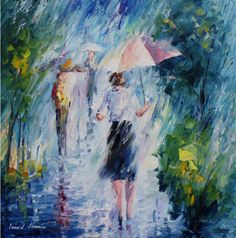 Long-Rain - PALETTE KNIFE Oil Painting On Canvas By Leonid Afremov