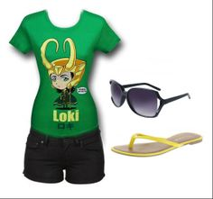 "LADIES NIGHT OUT: ""Loki"" Women's Outfit by Mary Huth Tee: http://www.superherostuff.com/thor/t-shirts/loki-kawaii-womens-t-shirt.html?itemcd=tslokihwijrutm_source=pinterestutm_medium=linkutm_campaign=featuredoutfit Shorts: http://www.polyvore.com/levis_pitch_black_short_micro/thing?id=42717824 Sandals: http://www.payless.com/womens/sandals Shades: http://www.target.com/p/xhilaration-oversized-sunglasses-with-vented-lens-black/-/A-13973773"