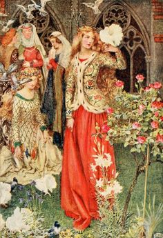 "Eleanor Fortescue-Brickdale, ""Guinevere and Her Ladies-in-Waiting in the Golden Days"""
