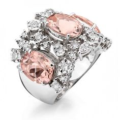 Brumani sissi couture collection 18K white gold with round diamonds and morganite
