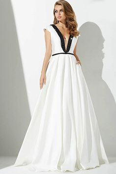 Ivory/Black A-Line Evening Dress 27370