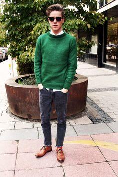 Shop this look on Lookastic:  https://lookastic.com/men/looks/dark-green-crew-neck-sweater-white-dress-shirt-charcoal-jeans-brown-desert-boots/2650  — Dark Green Crew-neck Sweater  — White Dress Shirt  — Charcoal Jeans  — Brown Leather Desert Boots