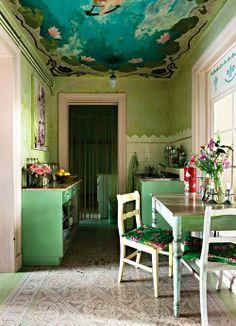 Colorful Bohemian kitchen.