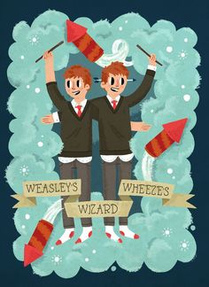 Yeah baby! #weasley #fred #george #ginger #harry #potter #wheezes #wizard #rocket #socks #illustration