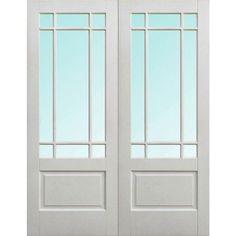 LPD Downham Pair Clear Bevelled Glass Prime Plus Internal Door, 78