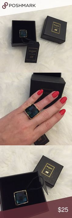 Balmain H&M Emerald Green & Gold Ring size XS/S Green and Gold Balmain x H&M Collection Ring Size XS/S never worn new with tags in box Balmain Jewelry Rings