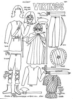 Historical hand drawn to color in with lesson plans paper dolls - Ancient Viking Men