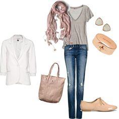 jeans, blazer & brogues, copper-pink-cream neutrals