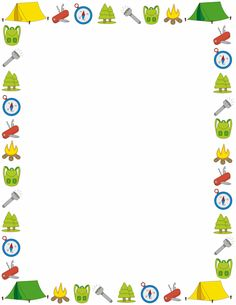 A page border with a camping theme. Free downloads at http://pageborders.org/download/camping-border/
