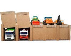 Toy Car Play Mat with Lift and Parking Cardboard Model, Cardboard Storage, Cardboard Toys, Cardboard City, Toy Car Storage, Diy Storage, Toddler Play Table, Car Play Mats, Carton Diy