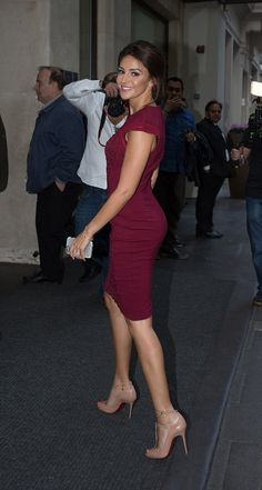 Michelle Keegan shows off her svelte figure in a burgundy form-fitting dress for Lipsy Michelle Keegan Style, Mark Wright, Bodycon Dress, Dress Up, Fashion Line, Glamour, Trendy Dresses, Beautiful Actresses, Beautiful Celebrities