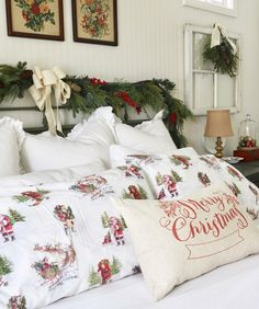 How To Create The Perfect Farmhouse Holiday Bedroom - - Cottage Christmas, Farmhouse Christmas Decor, Christmas Home, Christmas Ideas, Christmas Decorations, Woodland Christmas, Christmas Things, Christmas Pictures, White Christmas