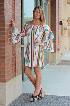 Peaches-N-Cream Aztec *LONG* Tunic/Dress - CREAM, $38.00