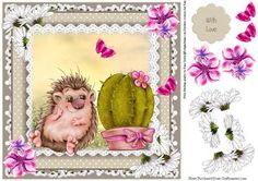 The Perfect Match cute card topper on Craftsuprint designed by Julie Hutchings - cute topper with a short sighted hedgehog who has found his perfect match with sentiment tag With Love - Now available for download!