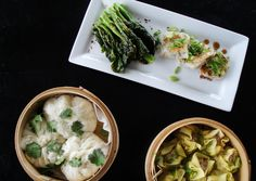 steamed buns, pork dumplings, gai lan and daikon cakes