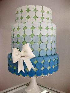 Blue Dot Bow Wedding Cake by Amanda Oakleaf Cakes Bow Wedding Cakes, Small Wedding Cakes, Elegant Wedding Cakes, Elegant Cakes, Bow Cakes, Fondant Cakes, Ombre Cake, Ruffle Cake, Colorful Cakes