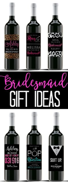 """Bridesmaid Wine Labels for your wedding party! Custom wine labels are the perfect unique bridesmaid gift and a special way to ask """"Will you be my Bridesmaid?"""" - Customize wine labels for each member of your wedding party and present them with this unique Bridesmaid or Maid of Honor gift idea. You can change colors, titles, wording, etc."""