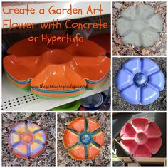 Create a Garden Art Flower with Concrete or Hypertufa. This is also a cool decorative stepping stone