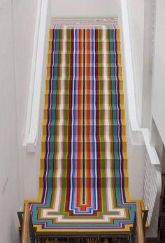 Jim Lambie, The Fruitmarket Gallery Jim Lambie, Home Decor Inspiration, Design Inspiration, Stair Art, Stair Rugs, Diy Home Decor, Room Decor, New Year Designs, Elle Decor