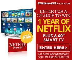 Click Here to Enter for a chance to Win 1 Year of Netflix plus a 60