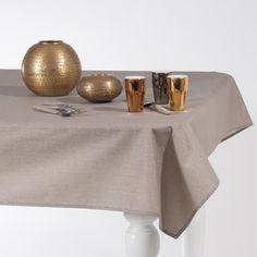 LUX beige linnen gecoat tafellaken met glittertjes 140x250