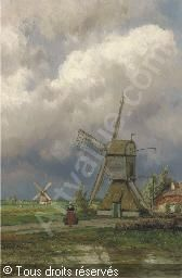 KOEKKOEK Johannes Hermanus Barend - Windmills in a Dutch polder landscape