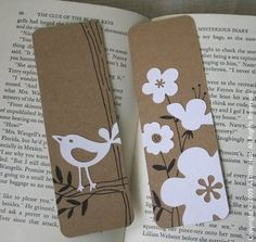 DIY Bookmarks - Might be fun to make her some bookmarks, she loves to read. Marque page Creative Bookmarks, Cute Bookmarks, Paper Bookmarks, Crochet Bookmarks, Corner Bookmarks, How To Make Bookmarks, Diy Paper, Paper Crafts, Craft Ideas