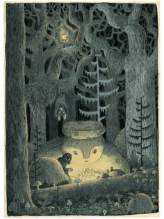 art, illustration, // In the Howling Forest Art Print CHuck Groenink Art And Illustration, Illustrations Posters, Character Illustration, The Neverending Story, Forest Art, Dark Forest, Pics Art, Conte, Book Design
