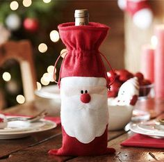 1 PC Merry Christmas Santa Wine Bottle Bag Cover Dinner Party Xmas Table Decor | eBay