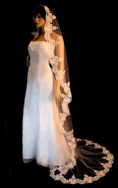 Bridal Veil with 40 hand-made beads Decorated Wedding Veil