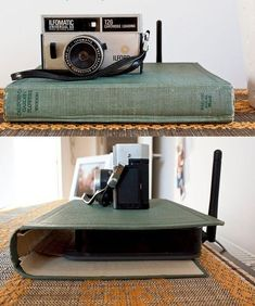 use an old book to cover and hide your unsightly router