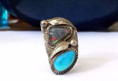 Navajo Sterling Silver 925 Turquoise Blue Lab Opal Blossom feather Size 8 Ring #Handmade