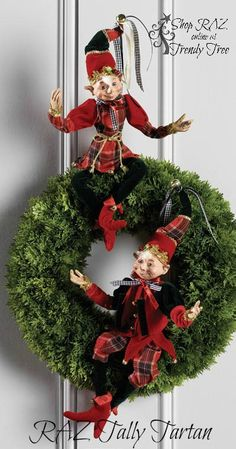 RAZ Elves Red Green Plaid Set of 2