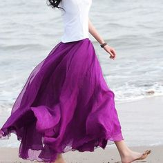 Dmart7deal; Chiffon Long Skirt Pleated Maxi Long Skirts Women Plus Size