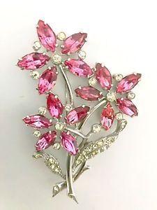 Staret Rare 1940's 4 1/4 inch Pink Rhinestone Flower Brooch | eBay #VintageJewelry