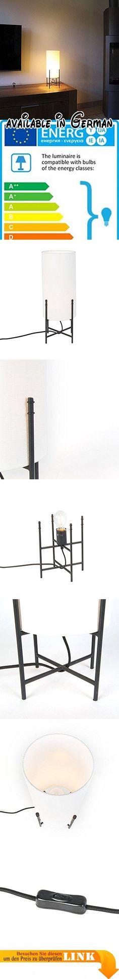 QAZQA Modern Tischleuchte / Tischlampe / Lampe / Leuchte Rich Weiß /  Innenbeleuchtung / Wohnzimmer / Schlafzimmer / Küche Metall / Textil / Rund  LED ...