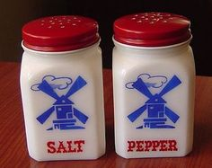 A pair of these windmill salt and pepper shakers always sat on her stove.