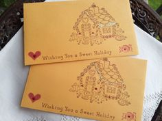 Gingerbread House Gift Card Holders/ Envelopes by LazyDayCottage, $4.95